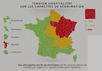 Carte de la tension hospitalière sur les capacités de réanimation