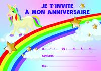Carton d'invitation licorne arc-en-ciel