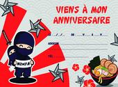 Carton d'invitation anniversaire Ninja Dessins & Arts divers