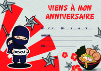 Carton d'invitation anniversaire Ninja